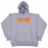 THRASHER SWEAT CAPUCHE GRIS FLAME LOGO