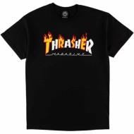 THRASHER T-SHIRT FLAME LOGO NOIR